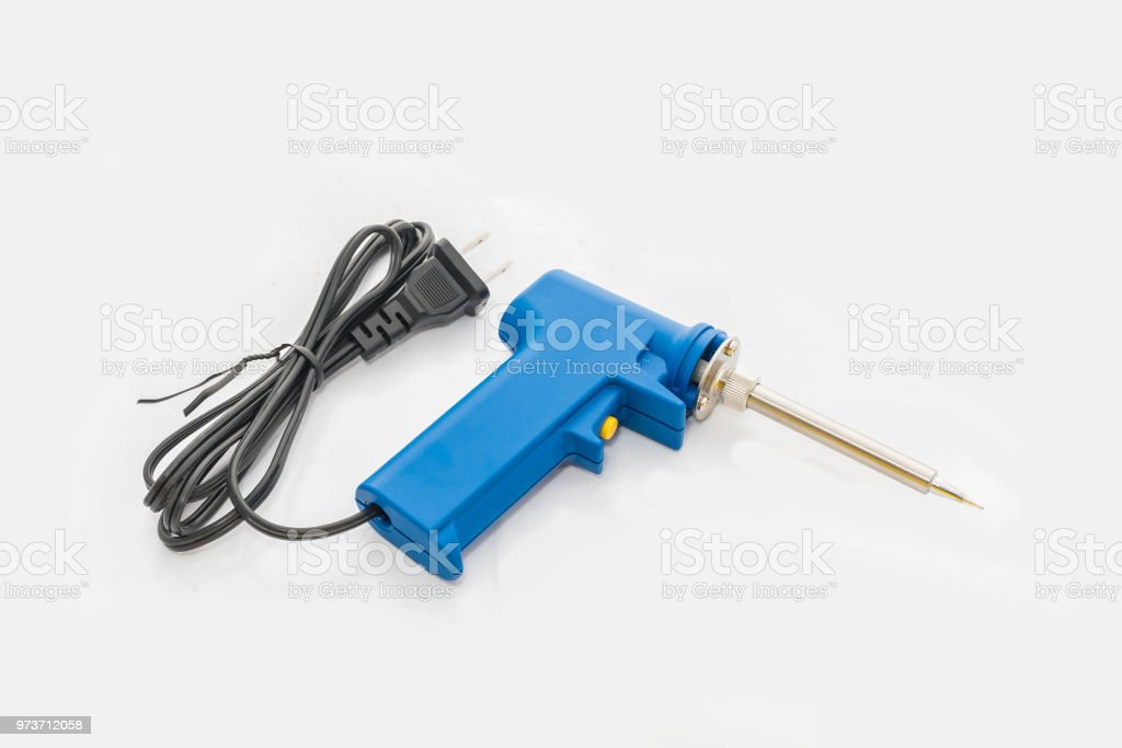 The soft blurred and soft focus of the soldering equipment with the white background. stock photo