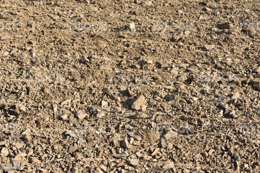 The soil that there is in the Priorat, for the plantation of vineyards, near the Vilella Alta village, Tarragona province, Spain stock photo