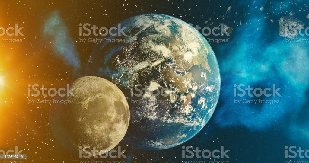 the solar system Earth and Moon planet concept over galactic...