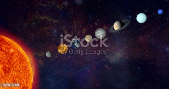 istock The solar system in a line 182910299