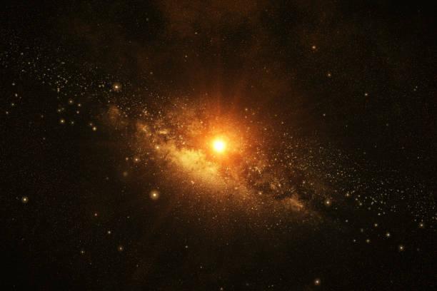 das sonnensystem mit sternen und der sonne in den weltraum 3d illustration - sternhaufen stock-fotos und bilder