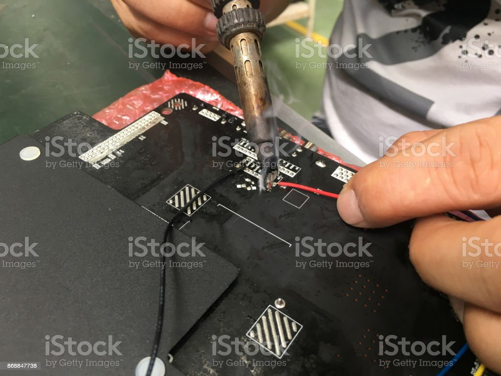 The Soldering On Circuit Board With Solder Lead Stock Photo More Royalty Free
