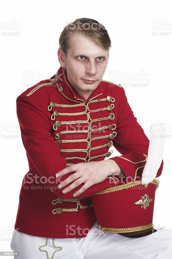 The soldier in ancient form royalty-free stock photo