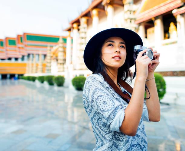 The solo Asian female traveler stock photo