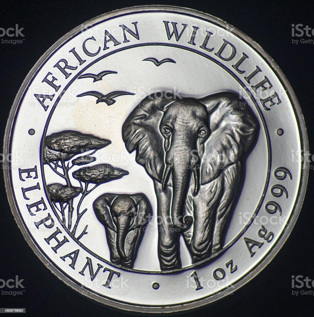 The Somali Republic Silver Coin (2015 - Reverse) stock photo