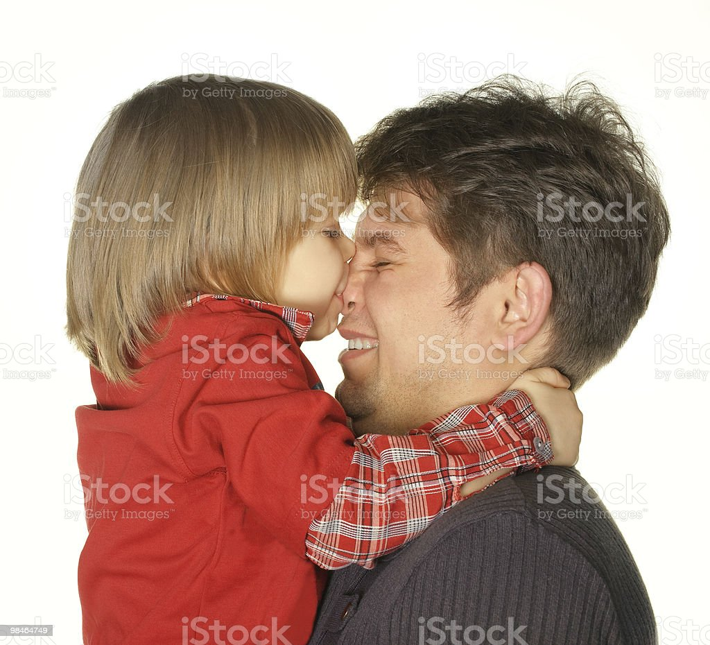 The son kisses daddy royalty-free stock photo