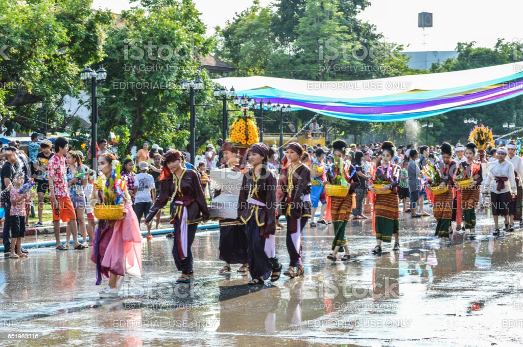 The Songkran festival parade. Songkran is the holiday known for its...