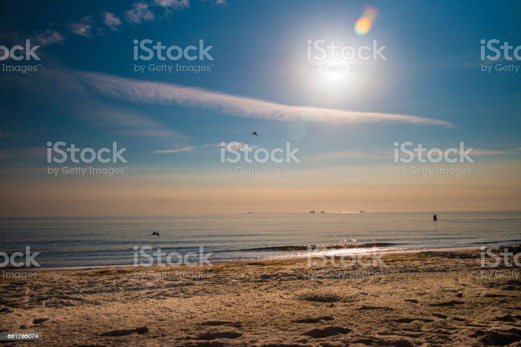 The Sopot beach at sunrise royalty-free stock photo