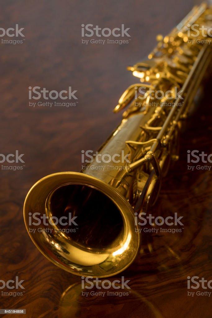 The soprano saxophone stock photo