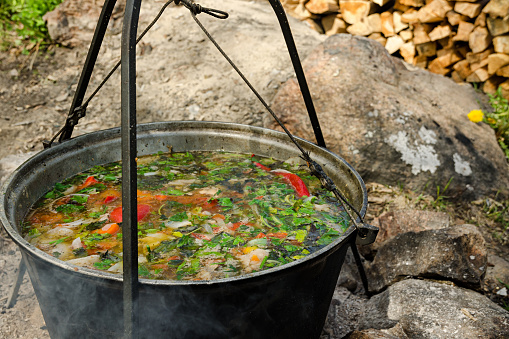 The Soup Is Cooked At The Stake In A Large Cauldron — стоковые фотографии и другие картинки Multicolored Red Tail Parrot - iStock