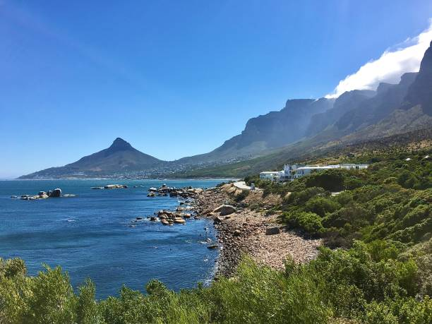 The South African coastline and Table Mountain. stock photo