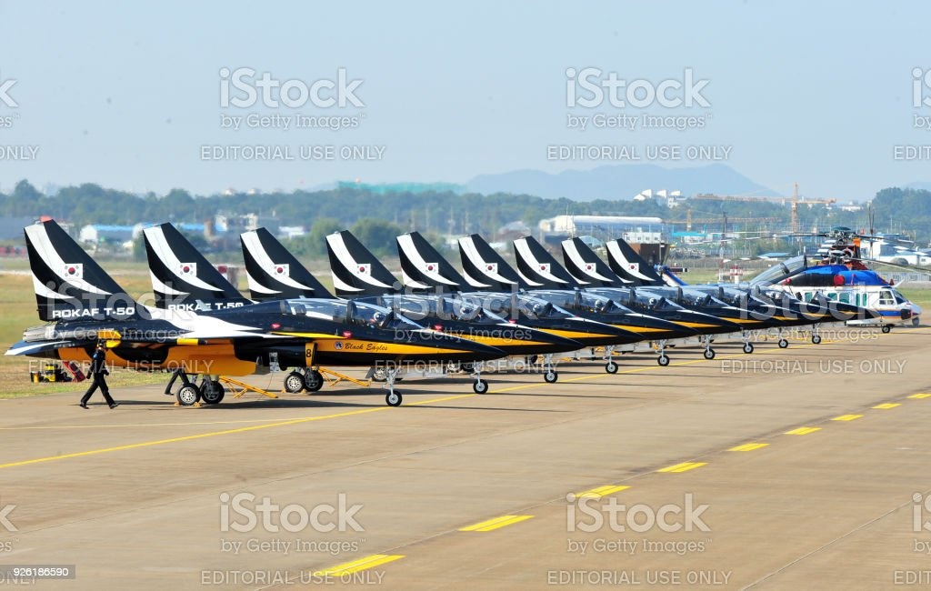 The South Korea Airforces Combat Plane T50 Black Eagle Stock Photo