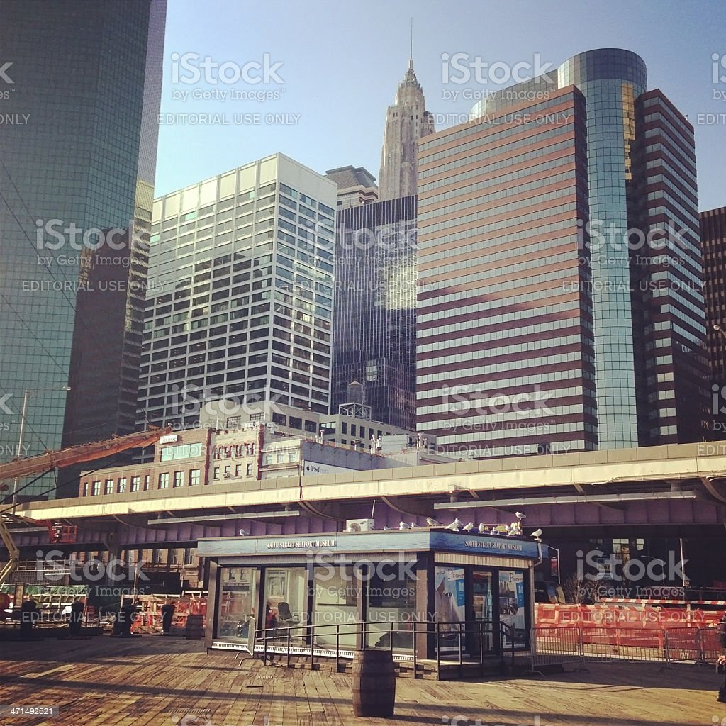 The South Street Seaport Museum in New York royalty-free stock photo