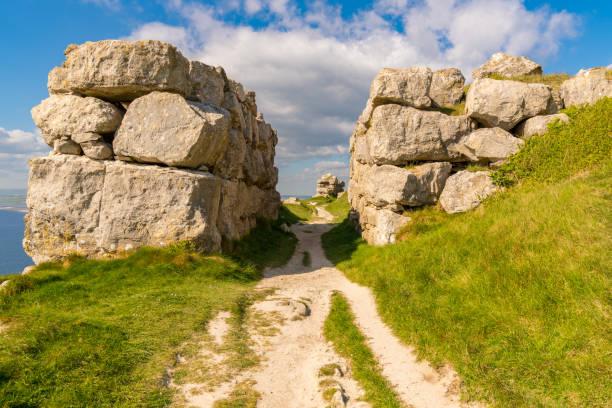 The South West Coast Path on the Isle of Portland, Jurassic Coast, Dorset, UK stock photo