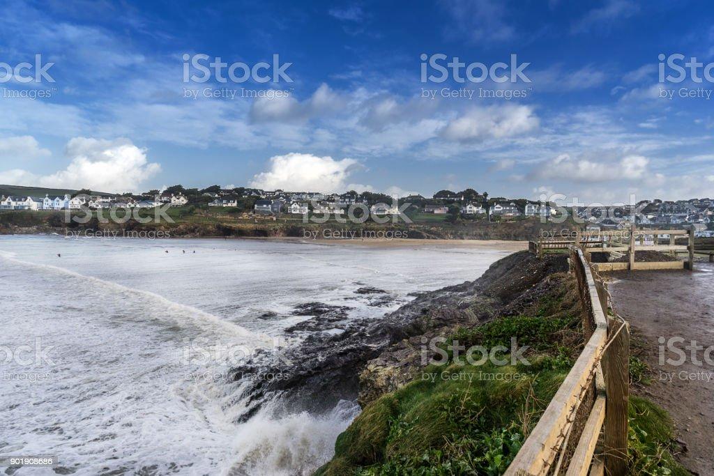 The south west coastal path in Polzeath stock photo
