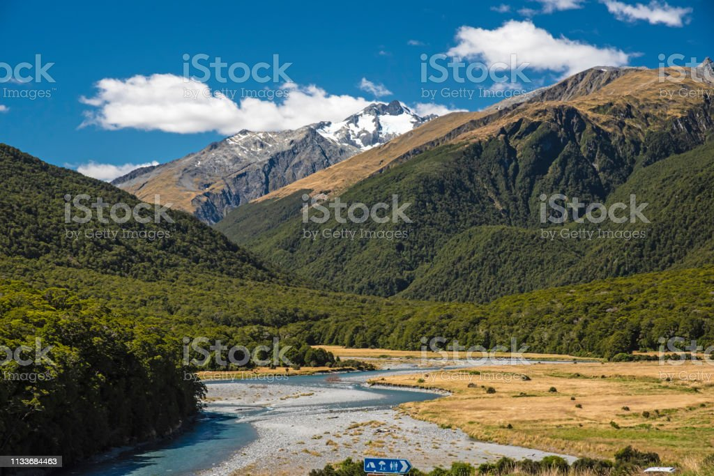The Southern Alps, Mount Aspiring, South Island, New Zealand stock photo