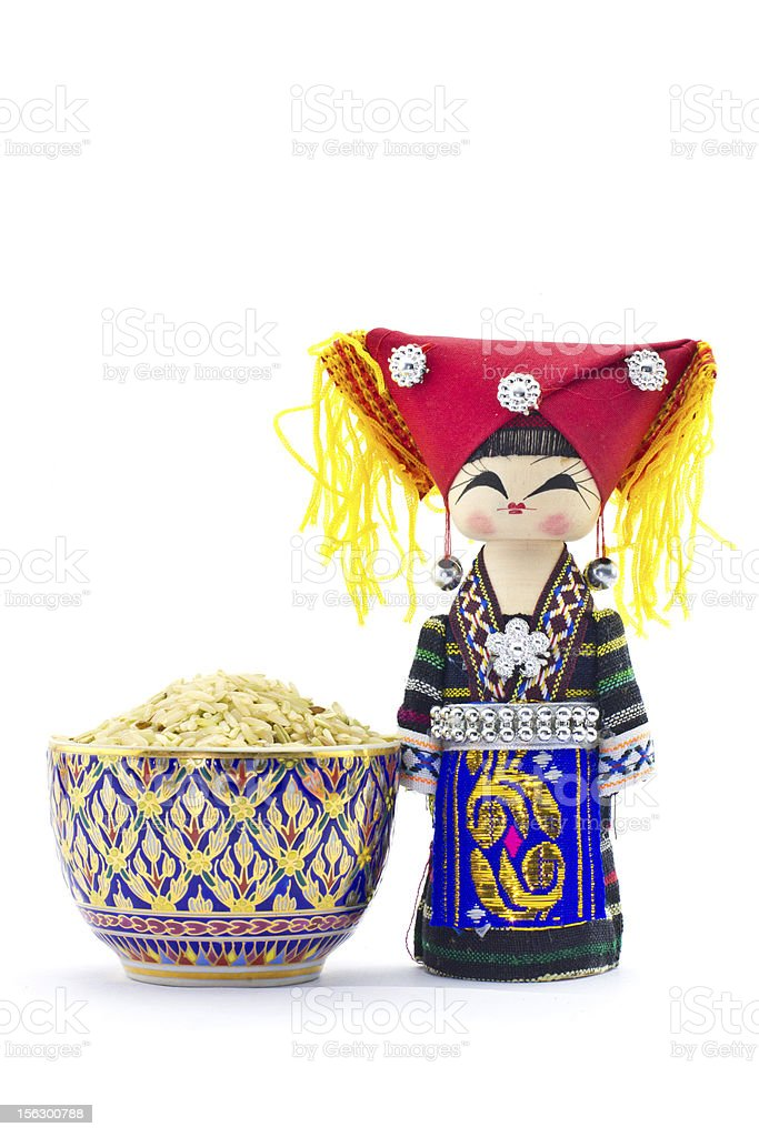 the souvenir dolls in hill tribe clothes thai porcelain royalty-free stock photo