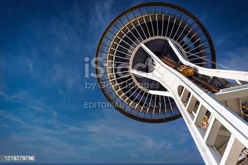 Seattle, Washington / United States - December 10, 2018:  Looking up at the bottom of the Space Needle constructed for the 1962 World