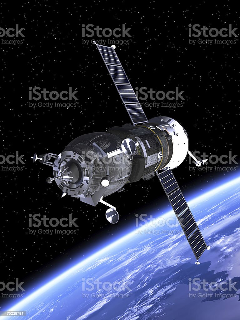 The spacecraft Progress with Earth in background stock photo