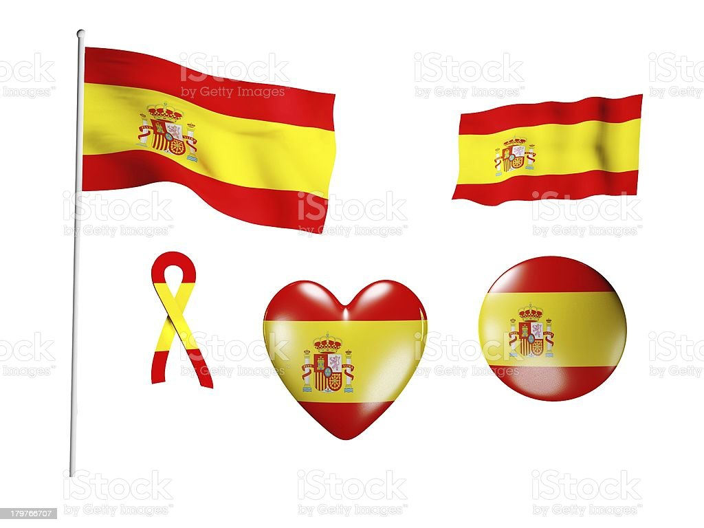 The Spain flag - set of icons and flags royalty-free stock photo