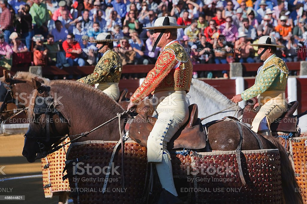 The spanish picadores at paseillo or initial parade royalty-free stock photo