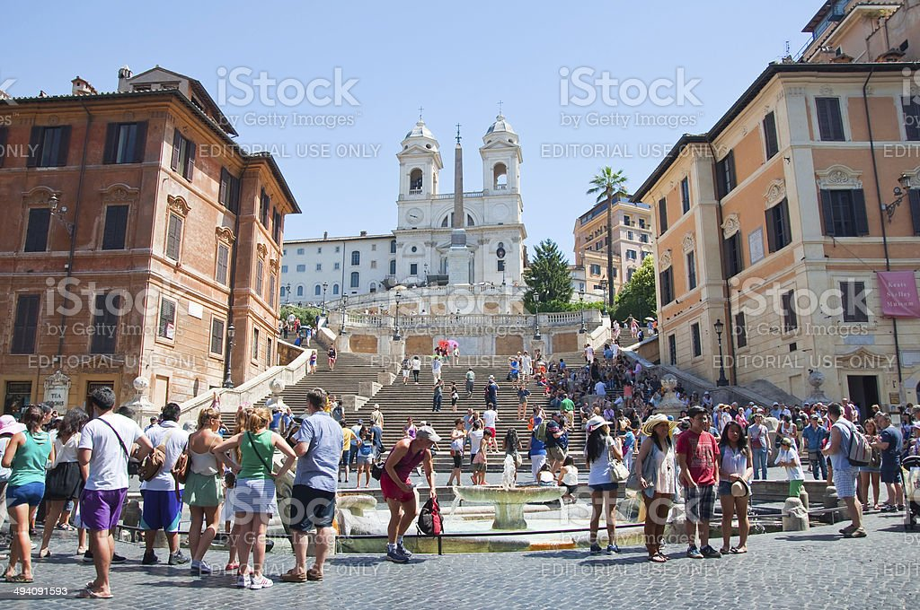 The Spanish Steps from  Piazza di Spagna in Rome, Italy. stock photo