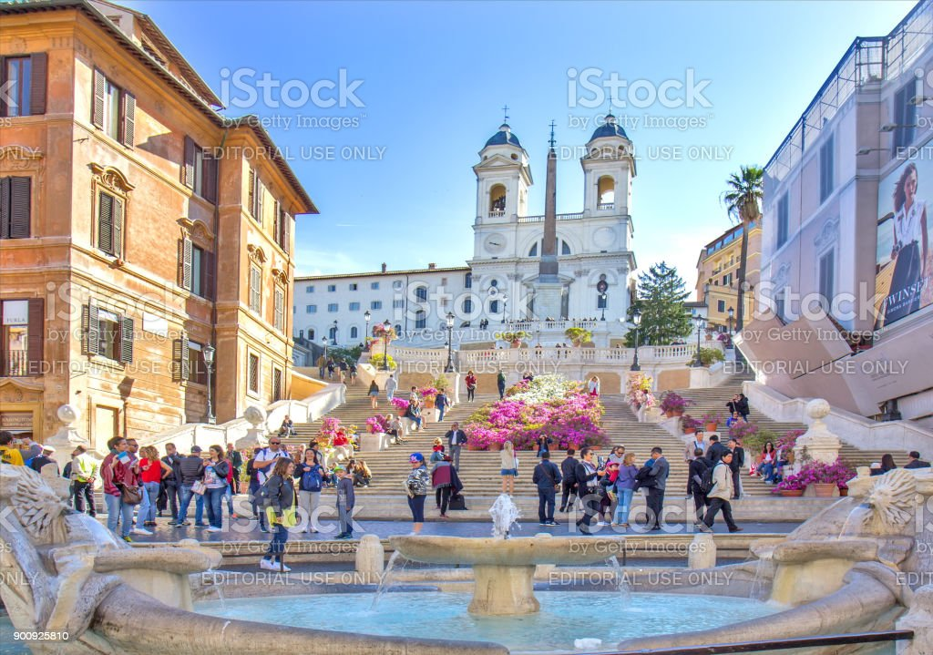 The Spanish Steps in Rome, Italy. stock photo