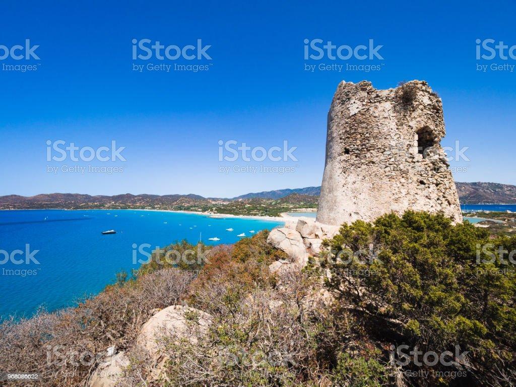 The Spanish watchtower of Porto Giunco, Villasimius, Sardinia, Italy, stock photo