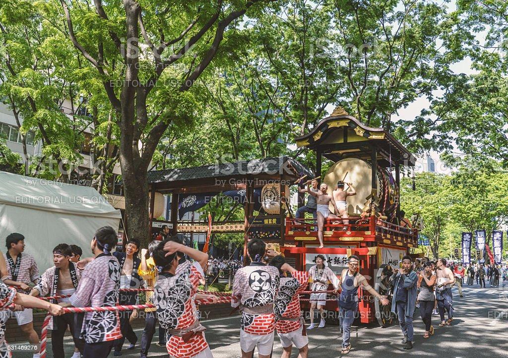 The Sparrow dance of Aoba Matsuri Festival in Sendai stock photo