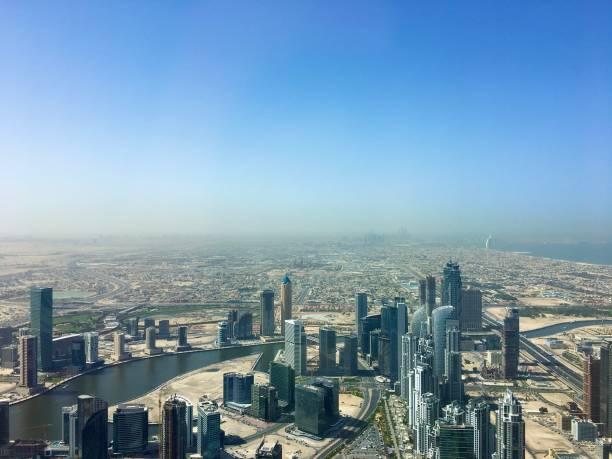 The spectacular Dubai coastline and skyline. stock photo