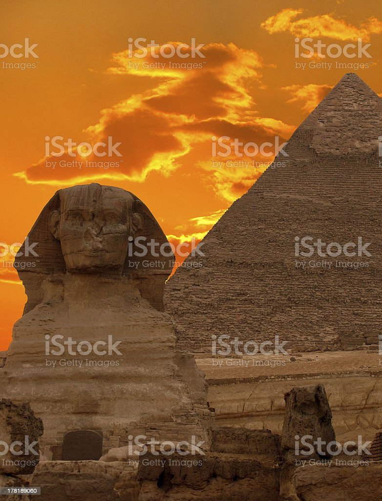 The Sphinx and Great Pyramid, Egypt royalty-free stock photo