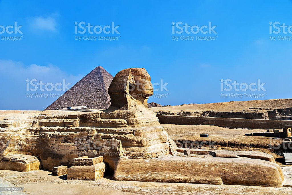 The Sphinx and Great Pyramid, Giza, Egypt. royalty-free stock photo