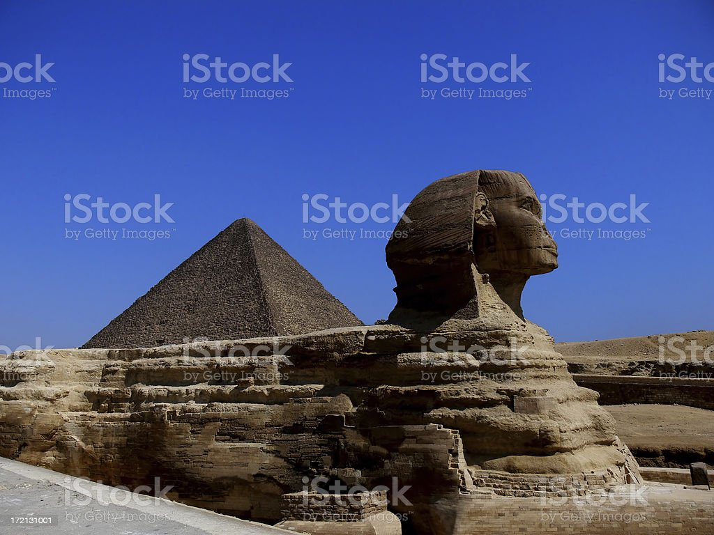 The Sphinx and Great Pyramid royalty-free stock photo