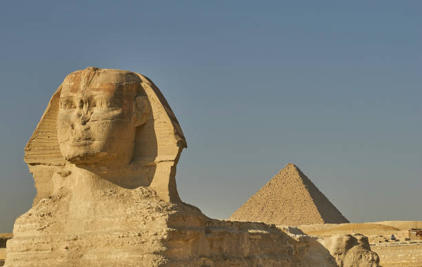 The Sphinx and Great Pyramids of Giza in Cairo, Egypt in Northern Africa stock photo