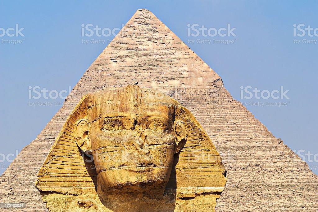 The Sphinx and Pyramid, Giza, Egypt. royalty-free stock photo