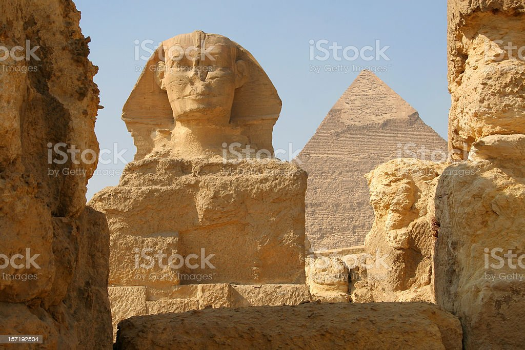 The Sphinx and Pyramid of Khafre, Giza Egypt stock photo