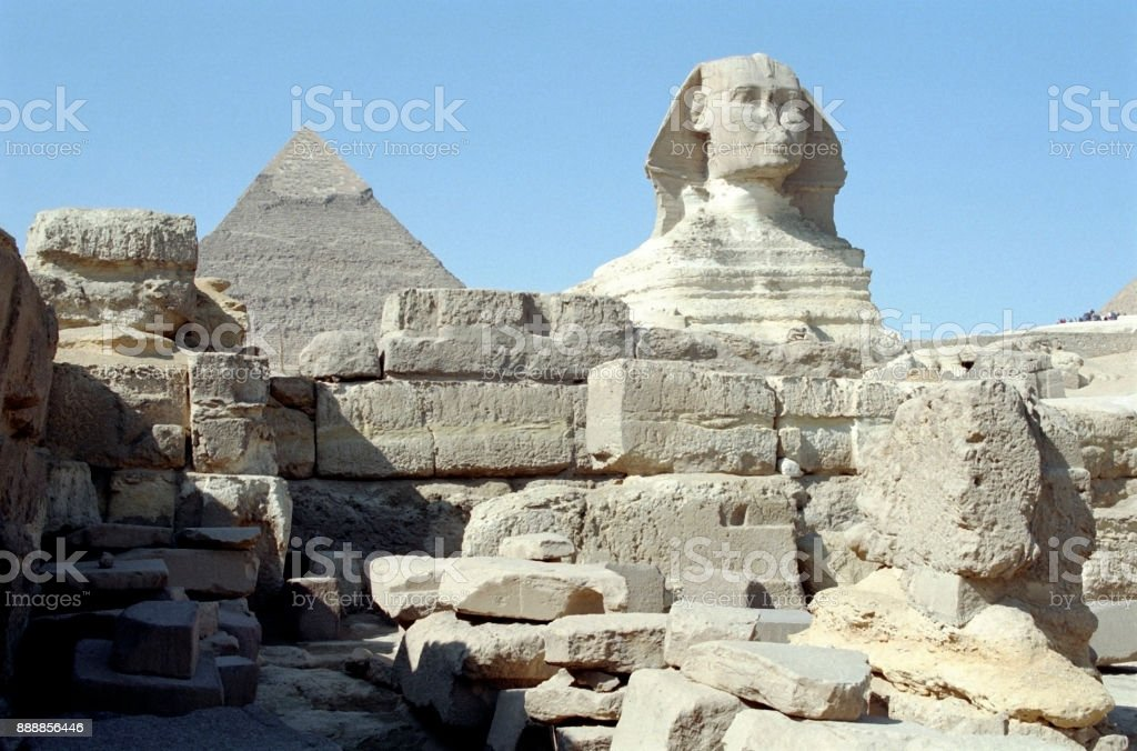 The Sphinx and Pyramid of Khafre stock photo