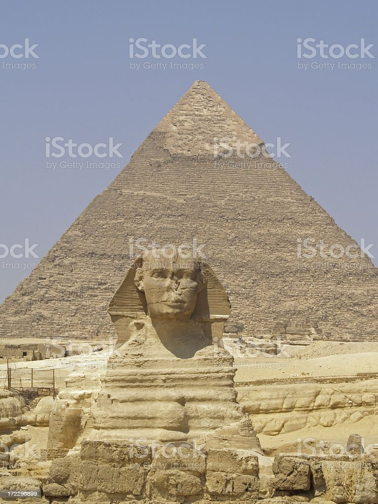 The Sphinx and pyramids royalty-free stock photo