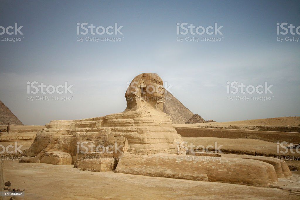 The Sphinx at Giza in the country of Egypt royalty-free stock photo