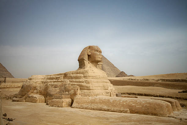 The Sphinx at Giza in the country of Egypt stock photo