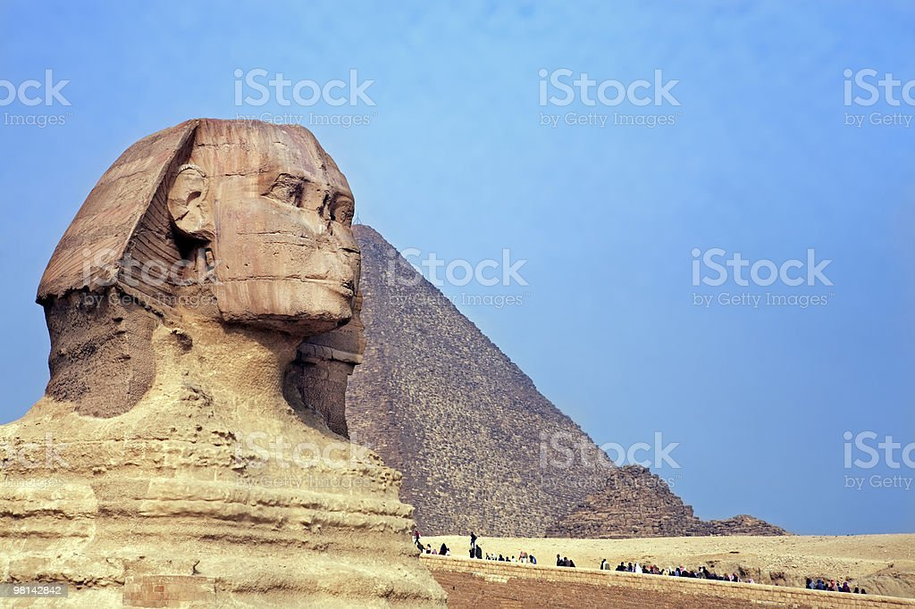 the sphinx &  pyramids egypt royalty-free stock photo
