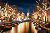 Amsterdam, The Netherlands, December 26, 2017:  The Spiegelgracht in the old town of Amsterdam