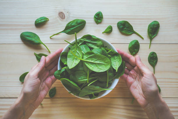 The spinach on the plate. stock photo