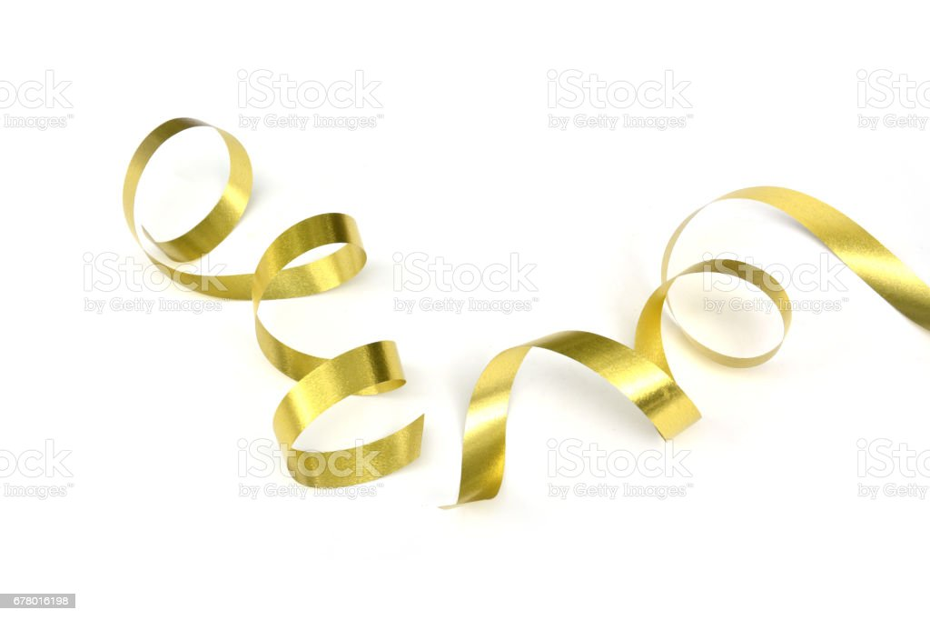 the spiral golden ribbon isolated on white background.