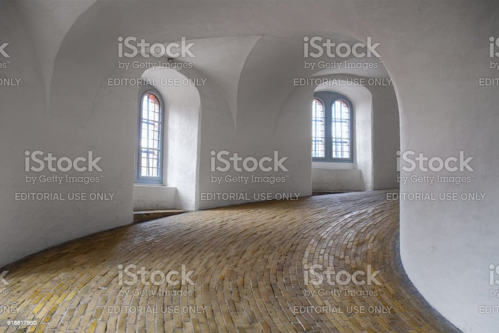 The spiral ramp in Round tower in Copenhagen. stock photo