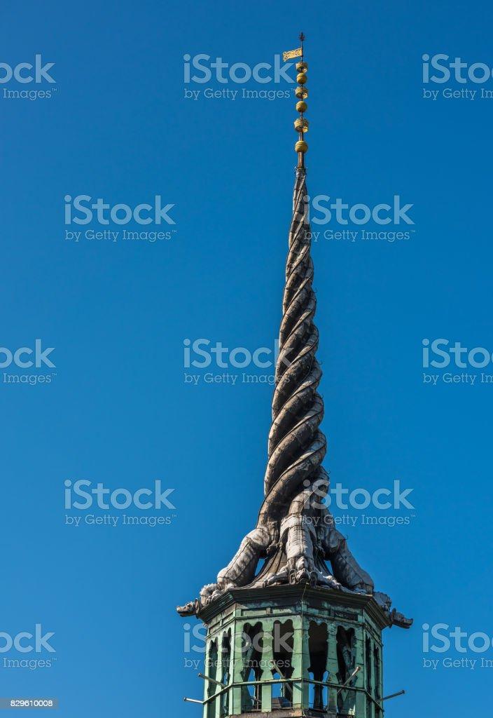 The spire of Borsen, Old Stock Exchange Building in Copenhagen, Denmark stock photo