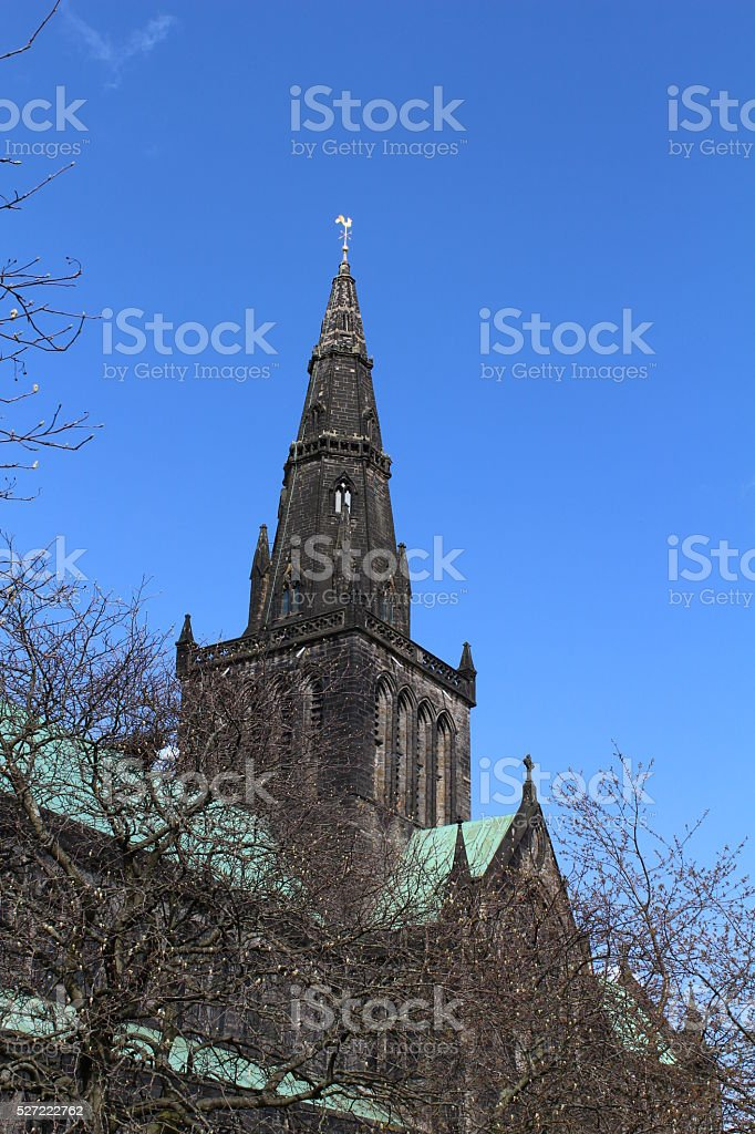 The spire of Glasgow Cathedral stock photo