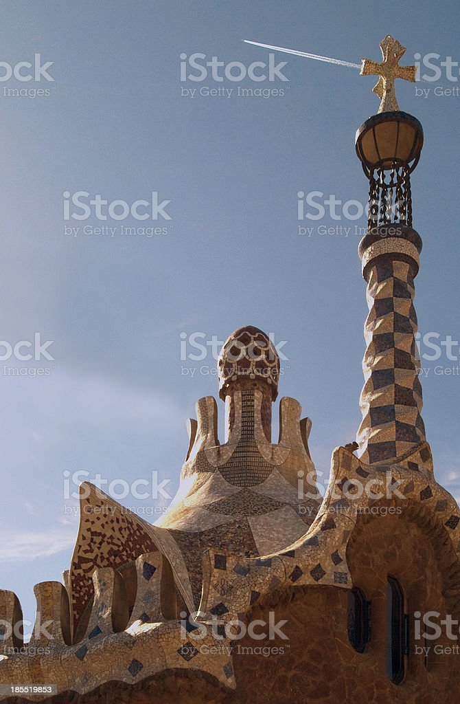 The spire of the chapel at Parc Güell - Barcelona royalty-free stock photo