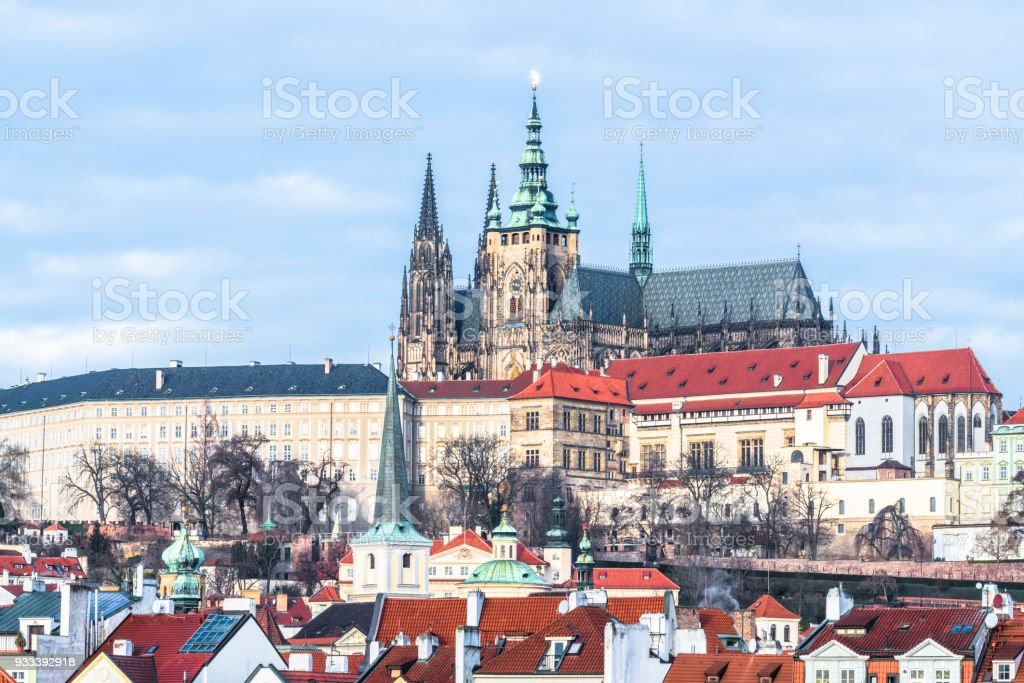 The spires and rooftops of Prague Vysehrad stock photo