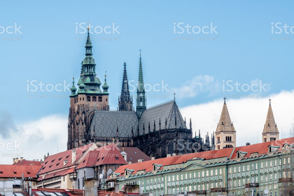 The spires of St. Vitus Cathedral stock photo